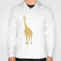 gold foil Hoodies featuring Gold Foil Giraffe by Mod Pop Deco