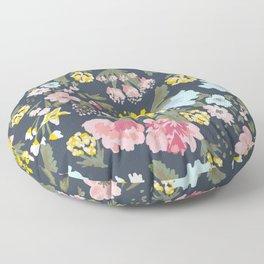 """Gabriella"" Floral Pattern - Navy Floor Pillow"