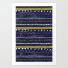 Dark Blue Pattern Art Print