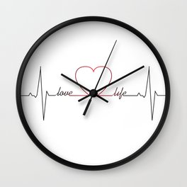 Heart beat with love life inspirational quote Wall Clock