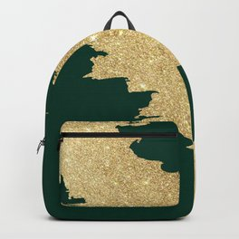 Stylish forest green gold glitter abstract brushstrokes Backpack