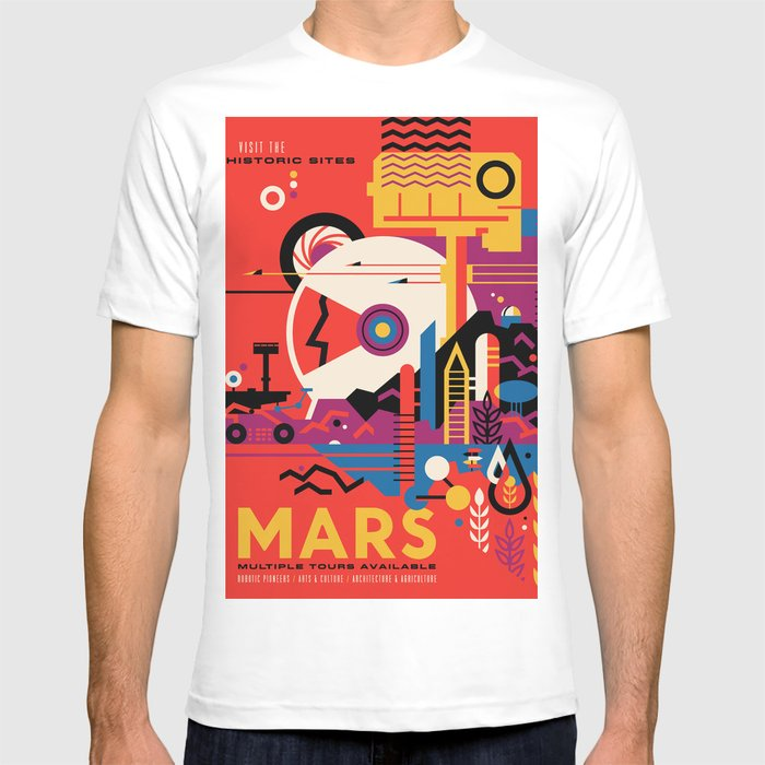 ebe86cb2 NASA Retro Space Travel Poster #9 Mars T-shirt by fineearthprints ...