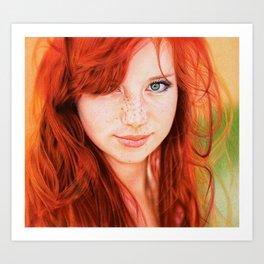 Redhead Girl Art Print
