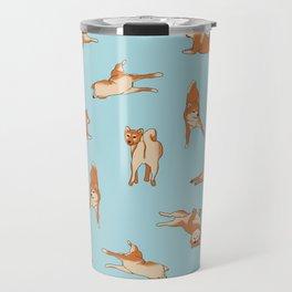 Shiba Inu Print Blue Travel Mug