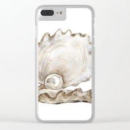 Watercolor Seashell Painting on White 2 Minimalist Coast - Sea - Beach - Shore Clear iPhone Case