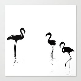 We Are The Three Flamingos Silhouette In Black Canvas Print