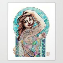 Tattooed Mucha Art Print