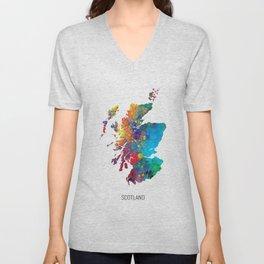 Scotland Watercolor Map Unisex V-Neck