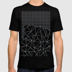 Abstract Outline Grid Grey LARGE Black Mens Fitted Tee
