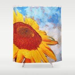 Hello Sun Sunflower  Art Shower Curtain