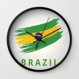 Abstract Brazil Flag Design Wall Clock