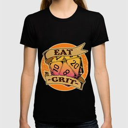 Retro DM Tabletop Gift Print Funny Eat Crit Dragons D20 Dice Print T-shirt