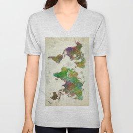 World Map Color Unisex V-Neck