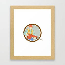 Construction Worker Jackhammer Circle Cartoon Framed Art Print
