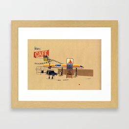 Berts Cafe screenprint Framed Art Print