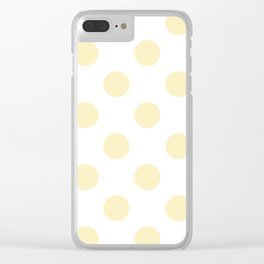 Large Polka Dots - Blond Yellow on White Clear iPhone Case