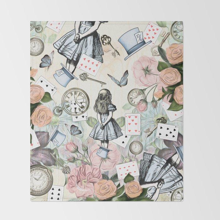 Alice In Wonderland Collage II Throw Blanket