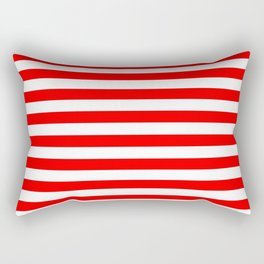 Medium Red and White Candy Cane Horizontal Stripes Rectangular Pillow
