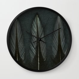 Three Mono Cockeral Feathers Wall Clock
