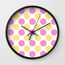 Yellow and pink polka dots Wall Clock