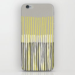 Yellow Rising - abstract stripes in yellow, grey, black & white iPhone Skin