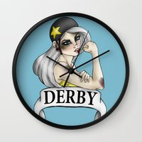 roller derby Wall Clocks featuring Roller Derby  by Hungry Designs