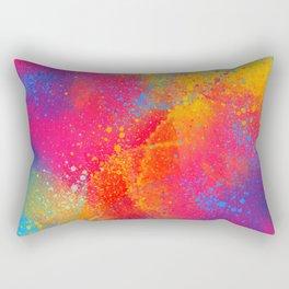 Bohemian 1960's Psychedelic Abstract Splatter Design Rectangular Pillow