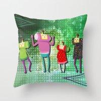 katamari Throw Pillows featuring Katamari Cousins Set by cakeisforrobots