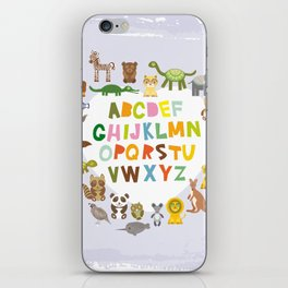 back to school. alphabet for kids from A to Z. funny cartoon animals iPhone Skin