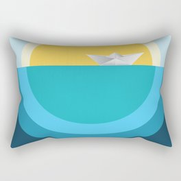 Paper boat in the sea Rectangular Pillow
