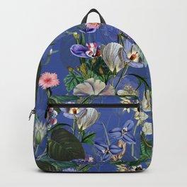 Vintage & Shabby Chic -  Classic Night Blue Exotic Botanical Garden Backpack