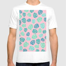 Modern tropical leaf monstera turquoise mint watercolor hand drawn illustration on pastel pink MEDIUM Mens Fitted Tee White