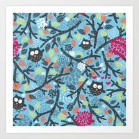 owls Art Prints featuring Owls. by panova
