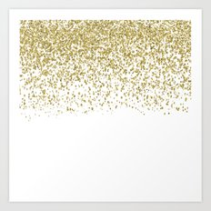 Sparkling gold glitter confetti on white backround- Pattern Art Print