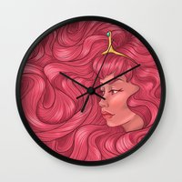 princess bubblegum Wall Clocks featuring Princess Bubblegum by Persefone