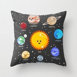 Solar system Kawaii style Throw Pillow