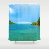 indonesia Shower Curtains featuring Rainbow in Indonesia by World Photos by Paola