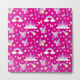 Unicorn, fairy castles, rainbows and magic Metal Print