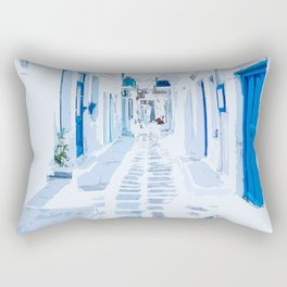MyKonos Greece Watercolor Digital Painting Rectangular Pillow