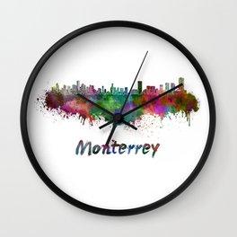 Monterrey skyline in watercolor Wall Clock