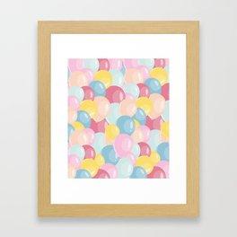 Happy birthday party balloons Framed Art Print