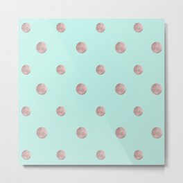 Happy Polka Dots Rose Gold on Mint #1 #decor #art #society6 Metal Print