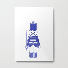 French toy soldier with sword, drawing with letterpress effect. Metal Print