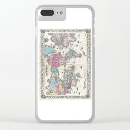 1852 J.H. Colton Map of the World Clear iPhone Case