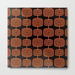 Mid Century Modern Atomic Rings Pattern Black and Orange Metal Print