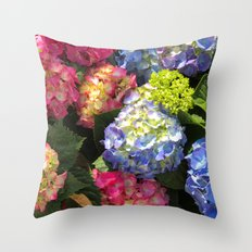 Colorful Hydrangea Flowers Throw Pillow