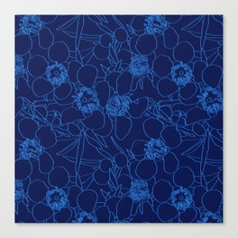 Australian Waxflower Line Floral in Blue Canvas Print