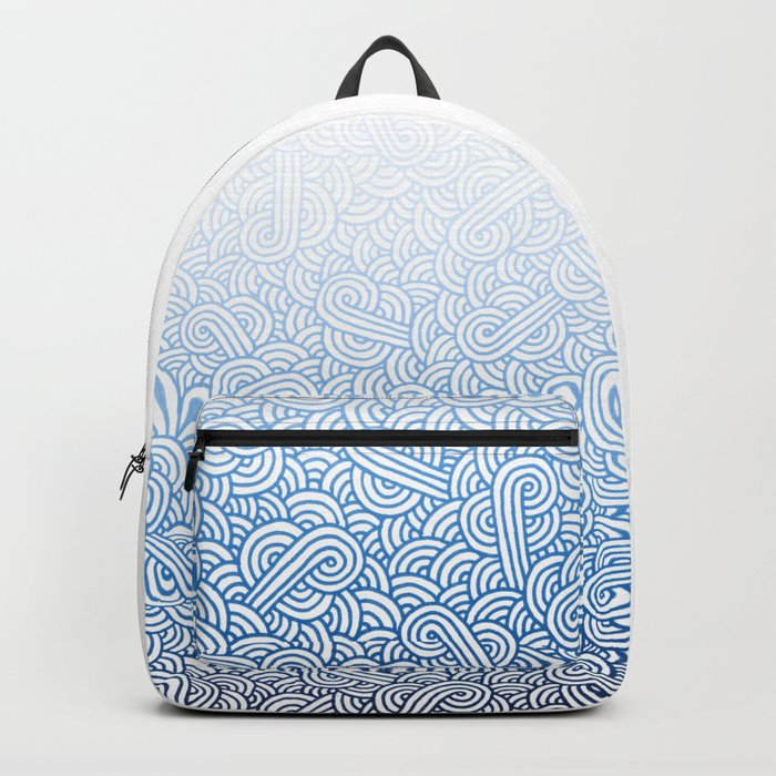 Gradient blue and white swirls doodles Backpack