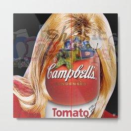 Shop the Tomato Soup Face Woman - quadratisk Metal Print
