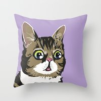 lil bub Throw Pillows featuring Lil Bub by Noelle Posadas